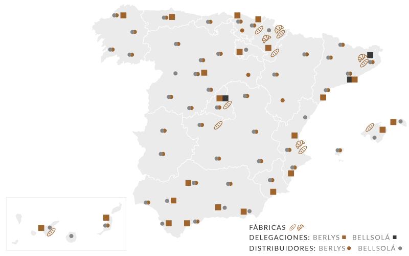 Mapa fabricas, delegaciones y distribuidores españa
